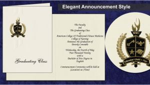 Traditional High School Graduation Invitations American College Of Traditional Chinese Medicine