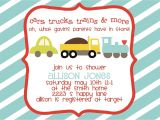 Train themed Baby Shower Invitations Baby Shower Invitation Cars Trucks Trains