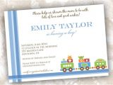 Train themed Baby Shower Invitations Train theme Baby Shower or Birthday Invitations by