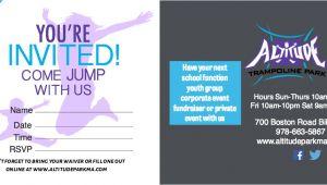 Trampoline Park Birthday Invitations Trampoline Birthday Parties at Altitude Altitude