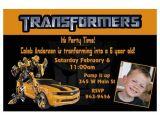 Transformer Birthday Invitations Transformers Bumblebee Custom Birthday Invitation