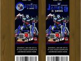 Transformer Party Invitations Optimus Prime Transformers Printable Birthday Ticket
