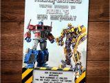Transformers Birthday Invitation Template Transformers Birthday Invitation Card Bumble Bee Optimus