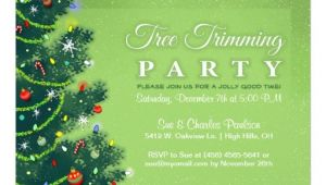 Tree Trimming Party Invitations Tree Trimming Party Invitation Green Tree Zazzle