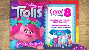 Trolls Birthday Invitation Template Diy Printable 5×7 Trolls Poppy Birthday Party Invitation