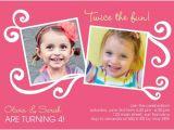 Twin Girl Birthday Party Invitations Twin Birthday Invitation Craft Ideas Pinterest Twin