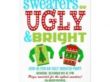 Ugly Christmas Sweater Party Invites Ugly and Bright Christmas Sweaters Party 5×7 Paper