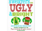 Ugly Holiday Sweater Party Invitation Template Free Ugly 39 N Bright Christmas Sweater Party Invitation Zazzle Com
