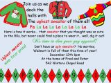 Ugly Sweater Christmas Party Invitations Wording Funny Christmas Invite Wording
