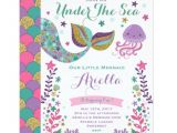 Under the Sea Birthday Invitation Template Free Mermaid Birthday Invitation Under the Sea Party Zazzle Com