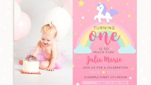 Unicorn 1st Birthday Invitation Template Unicorn First Birthday Invitation Template with Photo