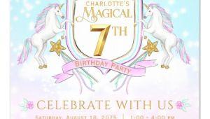 Unicorn 7th Birthday Invitation Template Girls Unicorn 7th Birthday Party Invitations Zazzle Com