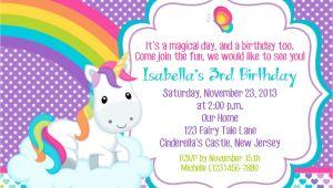 Unicorn Birthday Invitation Wording Unicorn Invitation Personalized Custom Unicorn Rainbow