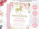Unicorn Party Invitation Template Unicorn Birthday Invitation Magical Unicorn Invite Floral