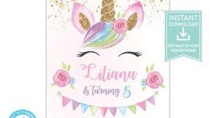 Unicorn Party Invitation Template Unicorn Birthday Invitation Template Unicorn Party Etsy