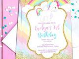 Unicorn Party Invitation Template Unicorn Birthday Party Invitation Template Pastel Rainbow