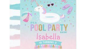 Unicorn Pool Party Invitation Template Unicorn Pool Party Birthday Invitation Pink Gold Zazzle Com