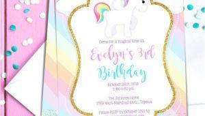 Unicorn theme Birthday Invitation Template Free Unicorn Birthday Party Invitation Template Pastel