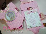 Unique Baptismal Invitation for Baby Girl Pink Baby Esie Baptism Invitation