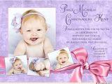 Unique Baptismal Invitation for Baby Girl Purple Baptism Invitation Pretty Pink Baby Girl