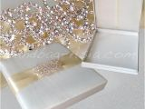 Unique Luxury Wedding Invitations Adorned with Embellishments Luxury Ivory Silk Wedding Box with Large Crystal Brooch