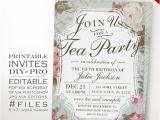 Ve Day Party Invitation Template Birthday Tea Party Invitation Template Vintage Rose Tea