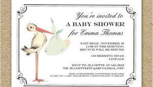 Vintage Stork Baby Shower Invitations Vintage Stork Baby Shower Invitation Baby Girl Stork Shower