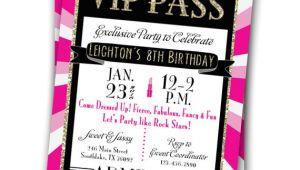 Vip Pass Birthday Invitations Free Vip Pass Invitation Glitz Glamour Rock Star Party Printable