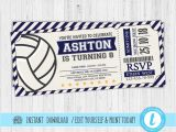 Volleyball Party Invitation Template Volleyball Invitations Volleyball Birthday Invitations Etsy