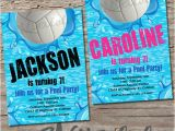 Volleyball Party Invitation Template Volleyball Pool Party Birthday Invitation Printable