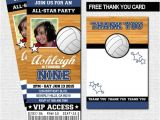 Volleyball Party Invitation Template Volleyball Ticket Invitations Bonus Thank You Card