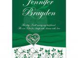 Wedding Invitation Designs Green Emerald Green Heart Of Love Wedding Invite Printed On Ribbon