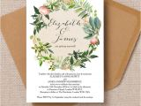 Wedding Invitation Designs Green Flora Wreath Wedding Invitation From 1 00 Each