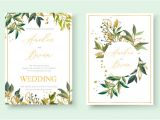 Wedding Invitation Designs Green Wedding Floral Golden Invitation Card Envelope Save the