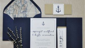 Wedding Invitation Designs Nautical Nautical Wedding Invitation Pocketfold by Coppiacreativa
