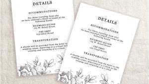 Wedding Invitation Details Card Example Wedding Details Template Information Card Template Wedding