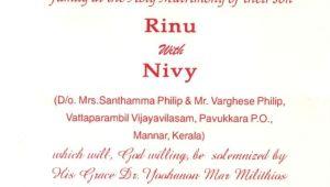 Wedding Invitation format Kerala Image Result for Marriage Invitation Card Kerala In 2019
