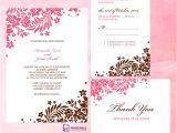 Wedding Invitation format Online Pink and Brown Foliage Wedding Invitation Free Printable