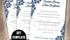 Wedding Invitation Layout Navy Blue Navy Blue Wedding Invitation Template Diy Instant Download
