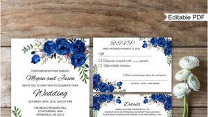 Wedding Invitation Template Blue Blue Wedding Invitation Template Royal Blue Wedding