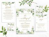 Wedding Invitation Template Buy Greenery Wedding Invitation Template Green and Gold Etsy