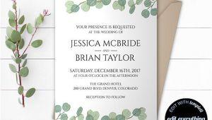 Wedding Invitation Template Eucalyptus Eucalyptus Greenery Wedding Invitation Template Eucalyptus