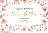 Wedding Invitation Template Landscape Wedding Invitation Gypsophila Flowers Border Frame Stock