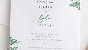 Wedding Invitation Template Leaf Fern Wedding Invitation Template Green Leaf Wedding Invite