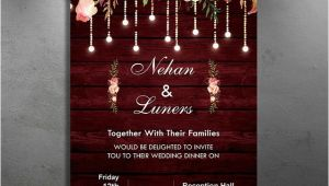 Wedding Invitation Template Maroon Maroon Floral Rustic Wedding Invitation Template for Free