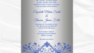 Wedding Invitation Template Royal Blue and Silver Royal Blue and Silver Wedding Invitation Template Diy Silver