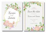 Wedding Invitation Template Vector Free Download Floral Wedding Invitation Template with Golden Frame