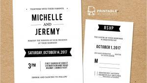 Wedding Invitation Template with Rsvp Diy Free Pdf Printable Wedding Invitation and Rsvp In 2019