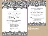 Wedding Invitation Templet Black Lace Vintage Wedding Invitation and Rsvp Wedding