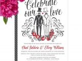 Wedding Invitations for Gay Couples Same Sex Gay Wedding Invitations Diy Printable or Printed